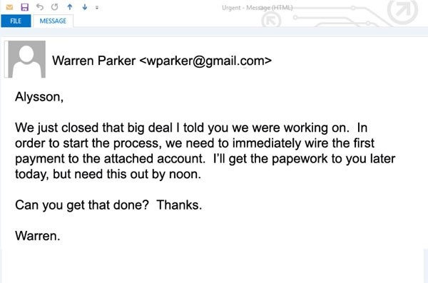 CEO impostor email example