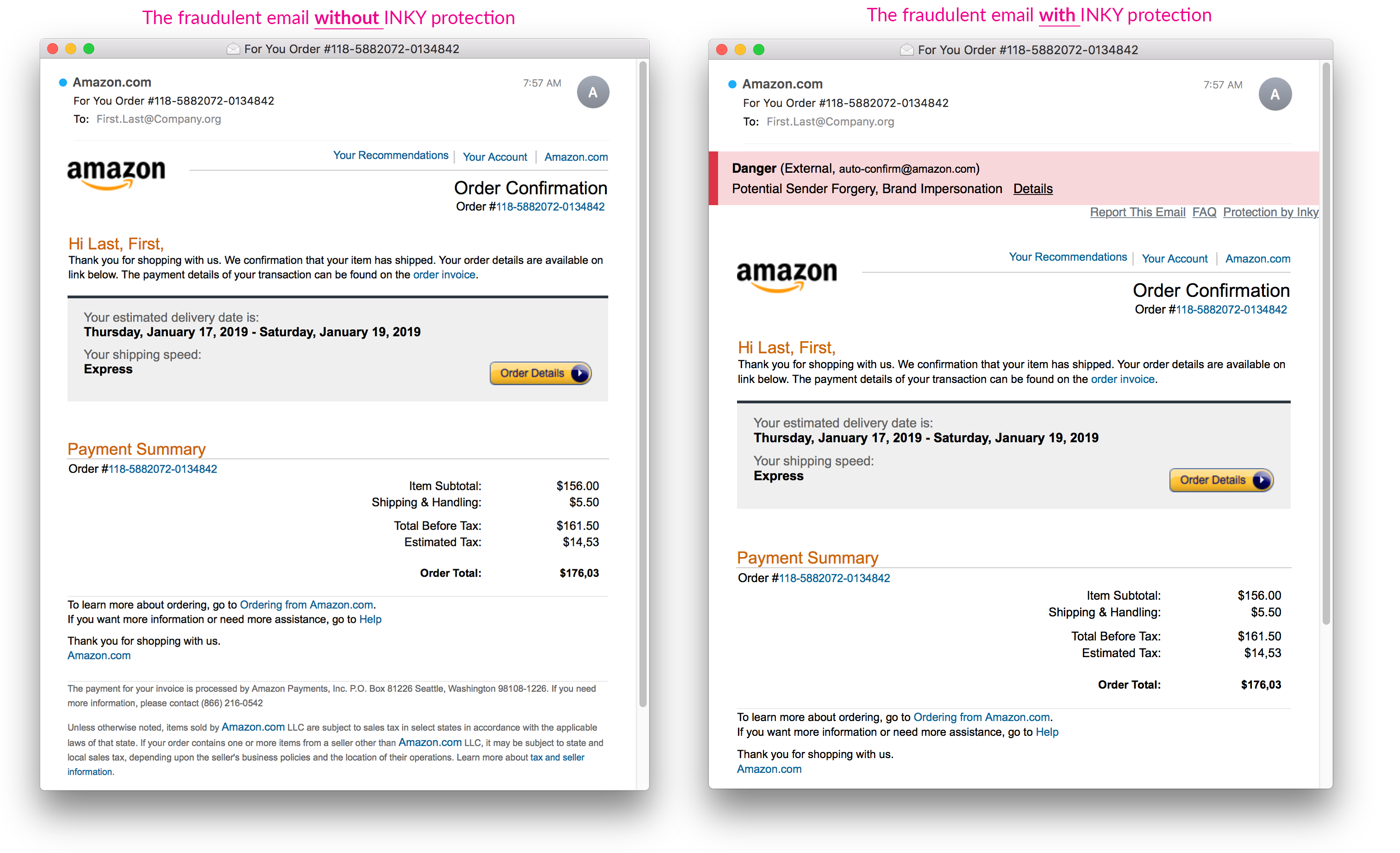 Amazon Impersonation Email INKY 3