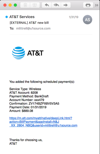 AT&T phishing email